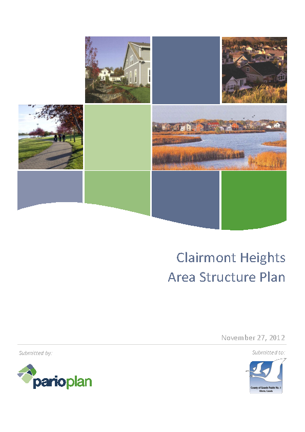 County of Grande Prairie – Clairmont Heights Area Structure Plan – Sept 2012