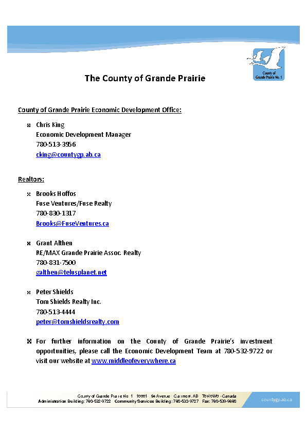 County of Grande Prairie – Contact Information