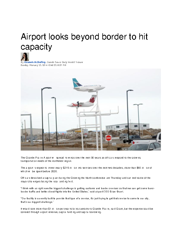 Daily Herald Tribune – Article – City of Grande Prairie Airport -Feb 23, 2014