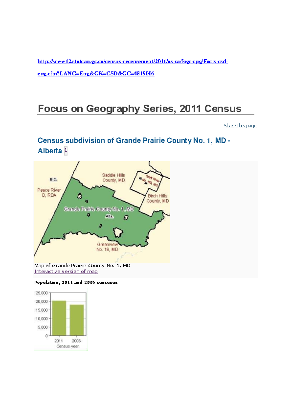 Stats Can 2011 Census, County of Grande Prairie
